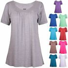 Womens Plus Size Short Sleeve Ladies Shaped Ruched Gather Long Tunic T-Shirt Top