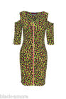 New Leopard Green Print Front Zip Dress Goth Rock Steampunk Emo Punk