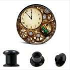 CLOCK AND COGS ACRYLIC HOLLOW STASH EAR PLUGS Piercing Tunnels Stretchers PL86