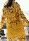 ZARA MUSTARD LACE GUIPURE DRESS SIZE MEDIUM REF 0387/025