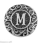 Gift Wholesale Snap Button Fit Snap Bracelet Letter M Carve Branch 18.5mm