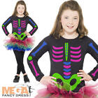 Neon Skeleton Tutu Girls Fancy Dress Childrens Halloween Kids Costume Outfit New