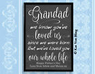 GRANDAD WE'VE LOVE YOU OUR WHOLE LIFE Design Print Framed Father's Day Birthday