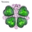 Vocheng 18mm 3 Colors Rhinestone Snap Chunk Button Filled Heart Vn-1015