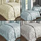 LUXURY ELEGANT JACQUARD SILVER CREAM BLUE QUILT DUVET COVER BEDDING SET