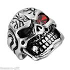 1PC Mens Stainless Steel Skull Rings With Zircon Punk Fashion Jewelry M12589