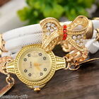 Gift Womens Retro Faux Leather Quartz Wrap Bracelet Butterfly Watch Wristwatch