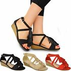 New Womens Ladies Low Wedge Tassel Ankle Strappy Holiday Summer Sandals Size