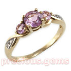 9ct Gold Amethyst & Diamond Trilogy Ring ~ Best Value Solid 9ct!