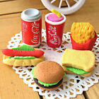 6Pcs Novelty Cute Food Rubber Pencil Eraser Set Stationery Children Toy Gift New