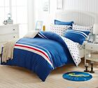 Blue&Stars Single Double Queen King Size Bed Set Pillowcases Quilt Duvet Cover