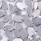 20 Stainless Steel Metal Stamping Blank Charms, Small Oval Discs Silver Charms