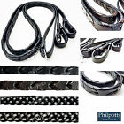 """Leather Reins PLAITED or LACED, Havana Brown, Black, 3/4"""" 5/8"""" FULL SIZE"""