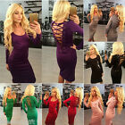 Gift Fashion Sexy Long Sleeve Knee Dress Cotton Drawstring Backless Bodycon