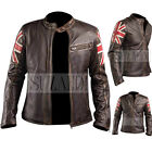 Mens Biker Vintage Motorcycle Cafe Racer Brown Real Leather Jacket with UK Flag