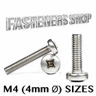 M4 Pan Head Phillips Machine Screws A2 Stainless Steel DIN 7985 Various Lengths
