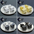 925 STERLING SILVER 5MM SILVER/GOLD/BLACK SQUARE SCREW BACK 3D STUD EARRING*E96