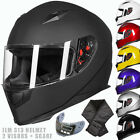 ILM DOT Full Face Motorcycle Helmet with 2 Visors Matte Black M L XL+Neck Scarf