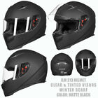 ILM Full Face Motorcycle Helmet with 2 Visors +Neck Scarf DOT Approved M L XL