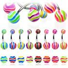 Ripple pattern belly bars BRIGHT colours acrylic balls, 10mm surgical bellybars