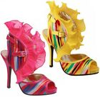 New Women's Open Toe  Lace Ruffle Chiffon High Heel Sandal Yellow Pink 5.5 - 7.5