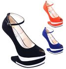 New Women's Peep Toe Heel Less Gaga Wedge Platforms Black Blue Orange Size 6 - 8