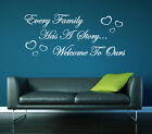 Every family has a story welcome to ours vinyl wall art sticker decal