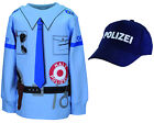 Kinder Polizei Uniform Kostüm 2er SET Sweat + Cap Gr. 92 bis 134