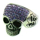 Ladies Stainless Steel Rings Skull with  Lilac Purple CZ