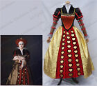 Alice in Wonderland 2 Red Queen Cosplay Costume Red Yellow Party Dress