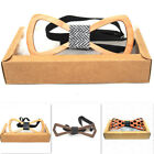 Wooden Bow Tie Men's hollow-carved Wedding party Wood bowtie XMAS Gift W/ box