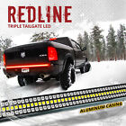"""48"""" TRIPLE LED Tailgate Bar Sequential Turn Signal Red Rigid Brake Light Rear"""