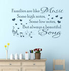 Families are like music some high notes some low wall art sticker decal