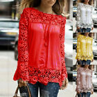 Gift Fashion Long Sleeve Chiffon Embroidery Lace Crochet Tee Shirt Top
