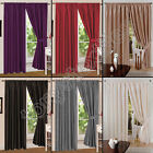 FAUX SILK LUXURY PLAIN TAPE TOP PAIR FULLY LINED READY MADE CURTAINS & TIE BACKS