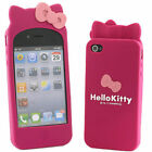 3D Bow Hello Kitty  Soft Silicone Rubber Case Cover For Apple iphone 4 4s case