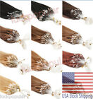 Indian Remy Human Hair Extensions Micro Ring Bead Easy Loop Straight Hair100S US