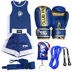 New Kids Boxing Uniform Set Top & Short Age 3-14 Years Boxing Gloves  1006 Blue