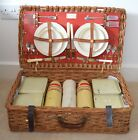 VINTAGE 1950s CORACLE PICNIC SET IN WOVEN WICKER HAMPER