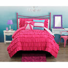Playful Cute Reversible Pink Ruffled Teen Girls 3-PC Comforter Set Twin Full