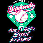 Fastpitch Diamonds Are A Girls Best Friend Softball Women's T-shirt (602)