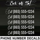 "Phone Number Set of 5 SILVER Decal Stickers REG.Size: 13""x2"" Call! *6YearDurable"