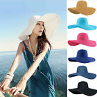 Women Beach Wide Brim Hat Lady Girls Derby Cap Floppy Fold Summer Sun Straw Hat