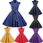 Womens Vintage Retro Style Button 50s 60s Rockabilly Swing Party Prom Dress