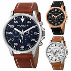 Men's Akribos XXIV AK773 Swiss Multifunction Day Date Leather Strap Watch