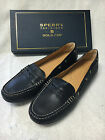 Women's Sperry Top-Sider Gold Cup Penny Driver Boat Loafers Shoes Black NIB