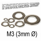 Size M3 (3mm Ø) Flat Washers A Type DIN 125 A Stainless Steel A2