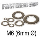 Size M6 (6mm Ø) Flat Washers A Type DIN 125 A Stainless Steel A2