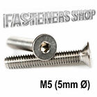Size M5 (5mm Ø) Countersunk Bolts / Screws DIN 7991 Stainless Steel A2