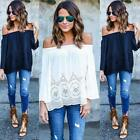 Fashion Sexy Womens Off Shoulder Casual Loose Long Sleeve T-Shirt Tops Blouse JF
